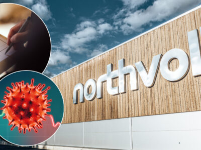 Fasadbild på Northvolt-byggnaden i Skellefteå. Bilder på en person som skriver i ett block och coronaviruset är monterade över.