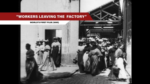En svartvit bild på arbetare, från en gammal film