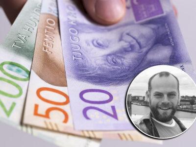 Ett foto på Hans Andersson monterat över en bild på en hand som håller i svenska sedlar