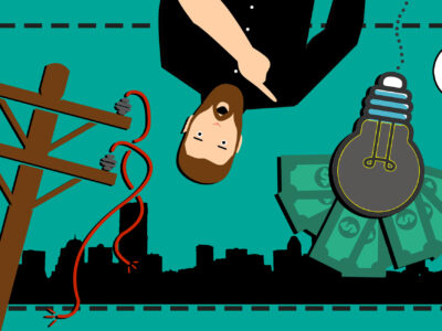 En tecknad, förvånad man pekar på en släckt glödlampa med sedlar bakom. Bredvid är en elstolpe med trasiga sladdar, och bakom är siluetten av en nedsläckt stad