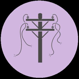 En tecknad elstolpe med trasiga ledningar