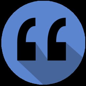Ett citattecken i en blå cirkel