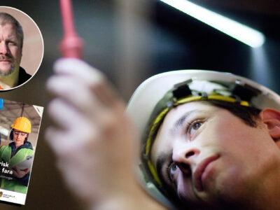 Bilder på Sven Höckers och framsidan av den nya elsäkerhetshandboken, monterade övern bild på en ung person i skyddshjälm mäter spänning med ett verktyg