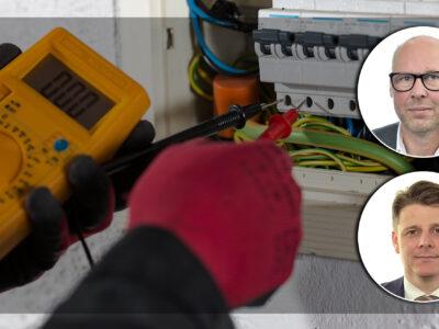 Bilder på och monterade över en bild på händer som mäter spänning med ett verktyg