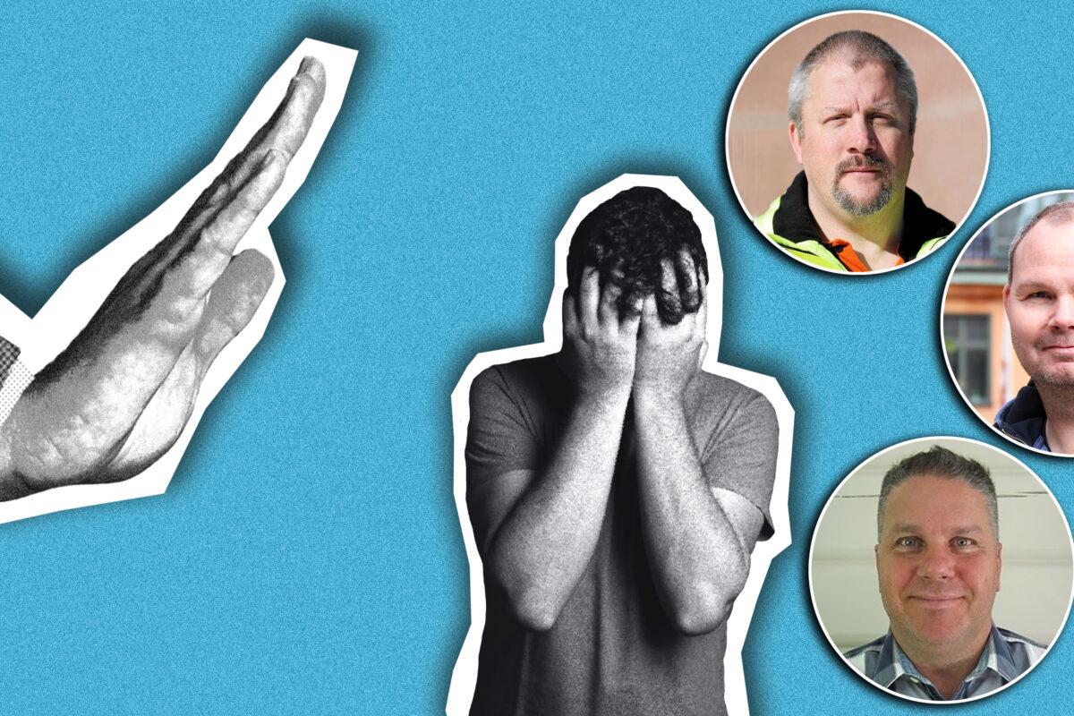 Bilder på Sven Höckert, Patrik Ericsson och Hans Nilsson monterade över en stiliserad bild av en stor stopp-hand som sänker sig över en hukande person.