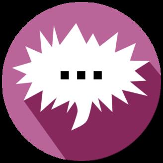 En tecknad spretig pratbubbla med tre punkter i