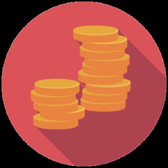 Två tecknade travar med mynt