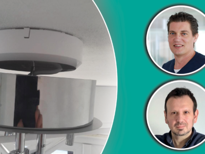 Bilder på Robert Palm och Dusko Davidovic monterade invid en bild på en lamparmatur som inte sluter tätt mot taket på grund av ett utanpåliggande DCL-uttag