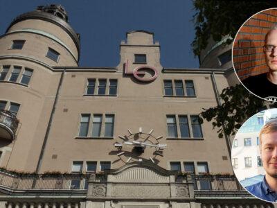 En bild på LO-borgen med bilder på David Aura och Jonas Eriksson monterade öve