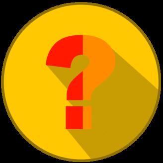 Ett stiliserat gult frågetecken