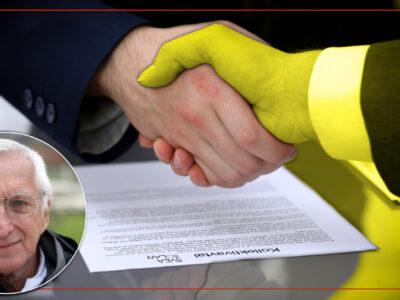 Två händer som skakar hand över ett kollektivavtal, varav en är gulfärgad. En bild på Kurt Junesjö är monterad över.