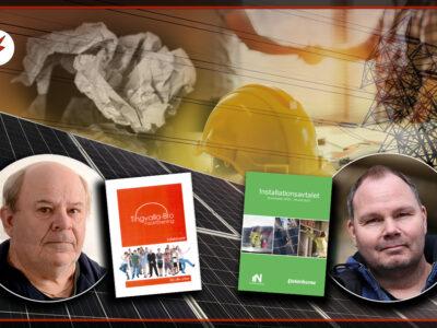 Bilder på Per-Olov Backlund och Patrik Ericsson monterade över en bild på solpaneler och två personer som skakar hand över ett kontrakt och en bygghjälm.