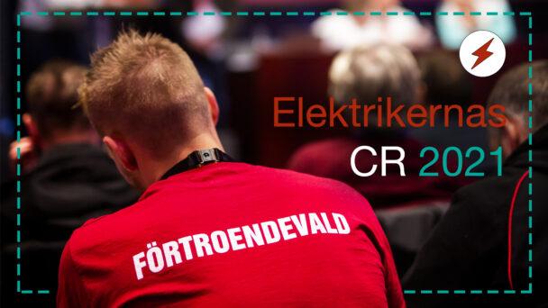 """En person i röd tröja med texten """"Förtroendevald"""" på ryggen. Monterat över är texten: Elektrikernas CR 2021."""
