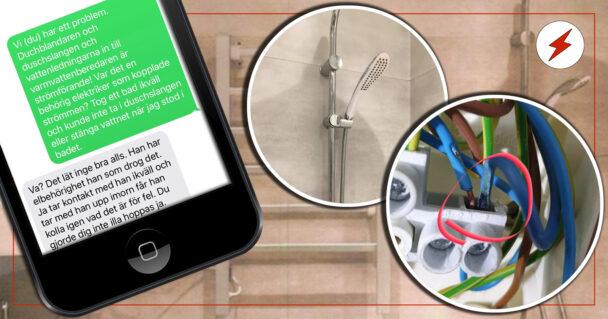 Bildmontage med ett foton från polisens förundersökning, och en sms-konversation där kunde berättar för byggaren om det strömförande badrummet