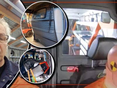 En bild på Hans Forsberg monterad invid bilder på skyddsgallret och lastutrymmet på en krockad hantverkarbild.
