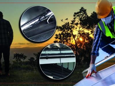 Silhuetten av en person som står och tittar på solnedgången, invid bilden av en person som monterar ett solcellstak. Bilder på misslyckade installationer är monterade över.