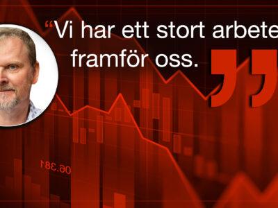 Röda, fallande statistikkurvor med ett foto av Urban PEttersson monterat över, bredvid orden Vi har ett stort arbete framför oss.