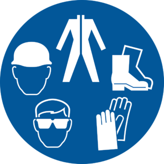 En tecknad samling skyddsutrustning