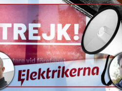 En skylt som det står strejk på, invid en megafon och bilder på Nicklas Tempel och Anders Eriksson.