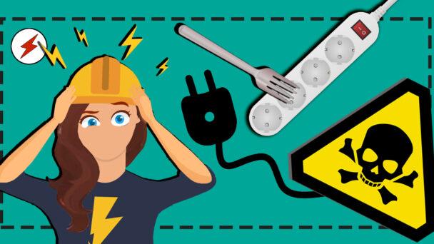 En skärrad elektriker stirrar på en gaffel i ett eluttag och en varningsskylt med sladd.