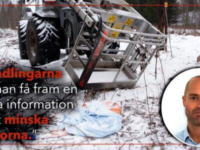 """Bild på liftkorgen från Tyfors-olyckan, invid en bild på Tomas Winter och citatet """"I handlingarna kan man få fram en massa information för att minska olyckorna""""."""
