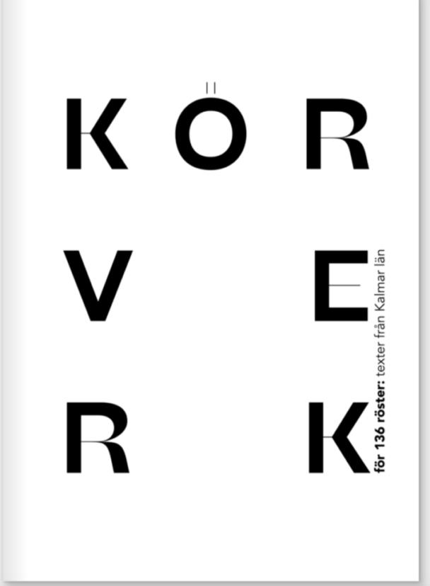 Framsidan på boken Körverk – en enkel vit bas med bokens titel i blockiga svarta bokstäver.