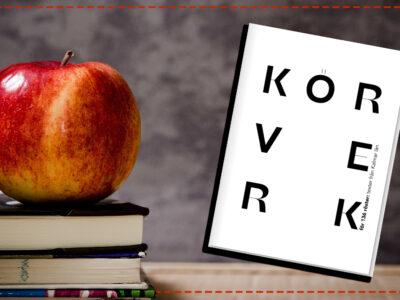 """Omslaget till boken """"Körverk"""" invid en bild på ett äpple uppepå en hög med böcker"""