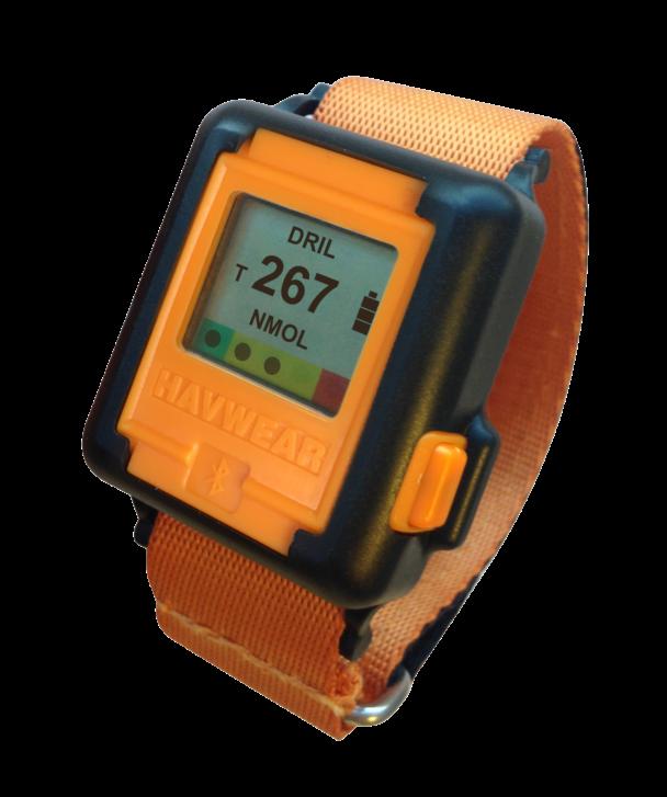 Den orangea vibrationsklockan med digital display