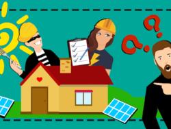 En tecknad, förvirrad person pekar på ett hus med solpaneler bredvid sig på marken. Från bakom huset kikar en elektriker med checklista, och en skurk utklädd till byggarbetare med en gaffel i handen.