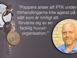 """En bild på Pontus Georgsson monterad invid en bild på en nyckelknippa i ett dörrlås. På nyckelbrickan står det """"LAS"""". Över bilden finns citatet: """"Pappers anser att PTK under förhandlingarna inte agerat på detsätt som är rimligt attförvänta sig av enfacklig huvudorganisation."""""""