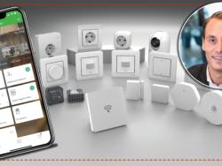 En bild på Jens Strinsjö monterad invid en bild på en samling eluttag, knappar och annan utsurstning, samt Schneiders nya app