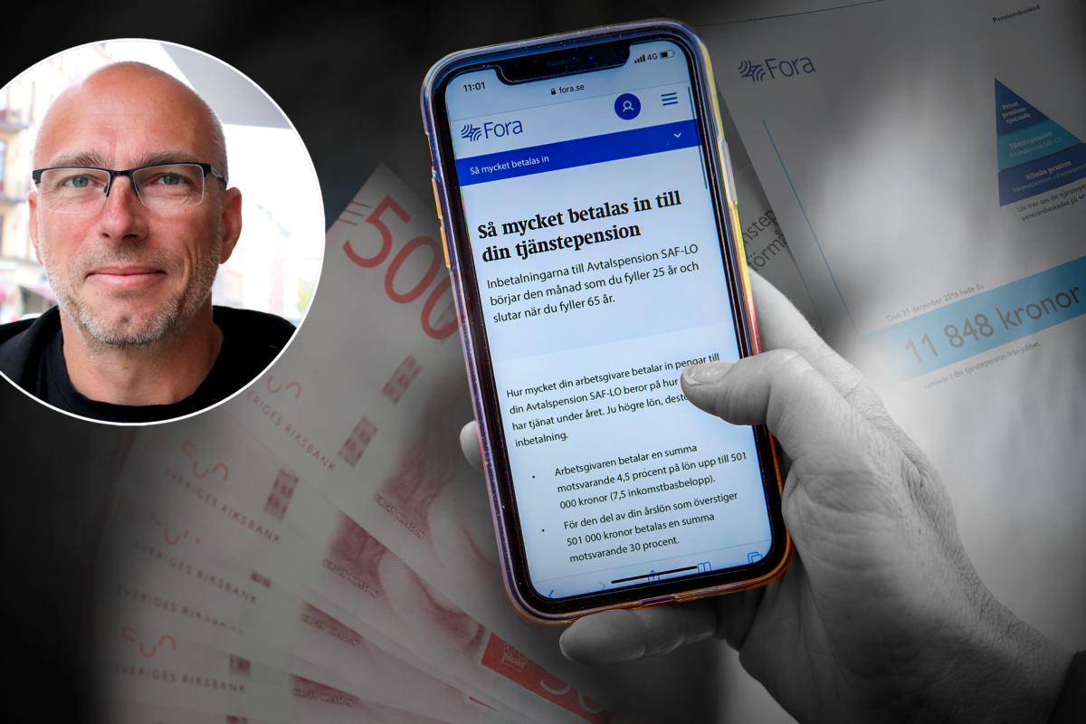 En bild på Michael Bentin monterad invid en mobilskärm med Foras hemsida, omgiven av sedlar och pensionsbesked.