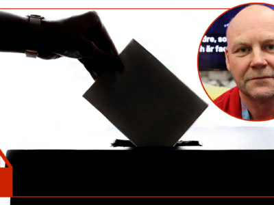"""En bild på Lars """"Tintin"""" Pettersson monterad invid en bild på en hand som lägger ett röstkort i en valurna."""
