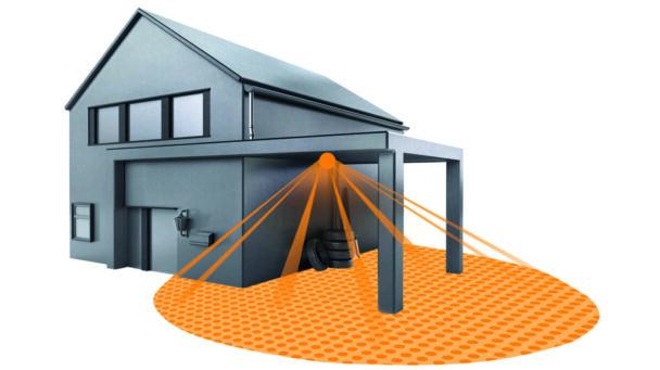 En tecknad bild på ett hus med detektorn på
