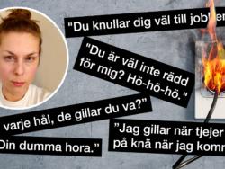 En bild på Karolina Dahl monterad invid ett brinnande eluttag och en samling sexistiska citat från undersökningen.