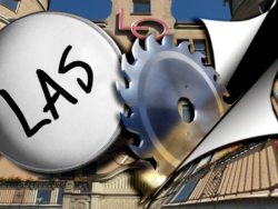 """En cirkelsåg som sågar igenom en bild på LO-borgen i Stockholm, med ett förstoringsglas som domar in på ordet """"Las"""" monterat över"""