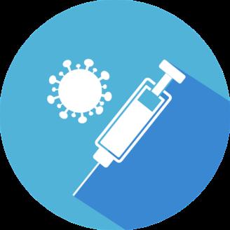 En tecknad spruta bredvid ett tecknat coronavirus