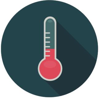 En tecknad termometer som visar en låg temperatur
