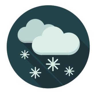 Tecknade moln som det faller snö ifrån