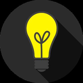 En tecknad glödlampa