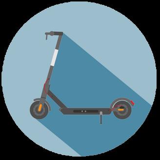 En tecknad elsparkcykel