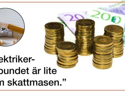 """En samling mynt och sedlar invid citatet: """"Elektrikerförbundet är lite som skattmasen"""""""