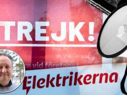 En skylt som det står strejk på, invid en megafon och en bild på Magnus Kindmark.