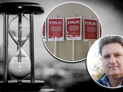 En bild på Anders Eriksson monterad över bilder på ett timglas och strejkskyltar.
